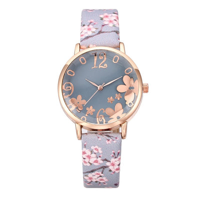 Wtch for women with embossed Colorful flowers small fresh printed belt Fashion Ladies Quartz Watch Exquisite Bracelet watch YE1