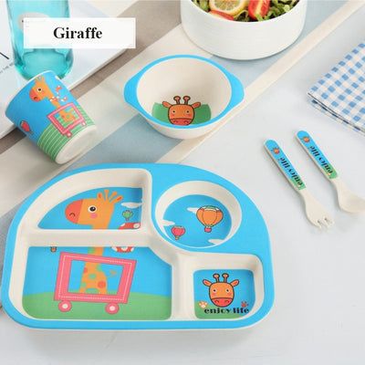 5pcs/set Baby Dinnerware Bamboo Fiber Children Tableware Set Plate Dishes Bowl With Spoon Cartoon Feeding Set Food Container