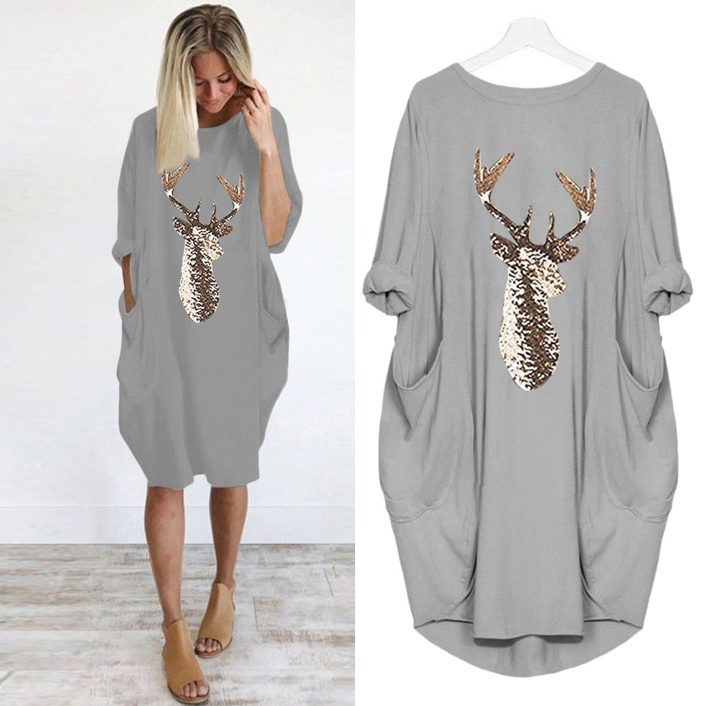 Women long sleeve dress casual knee-length dress s-5xl plus size dresses christmas moose print