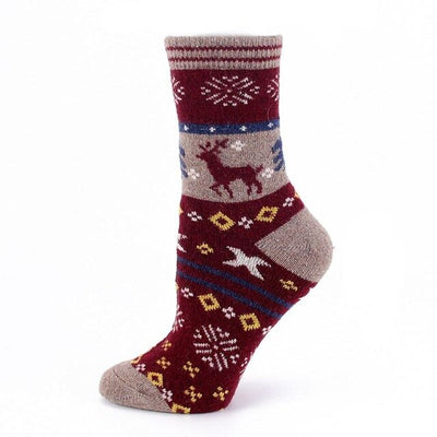 Outdoor Sport Socks Christmas Woolen Socks Winter Warm Cartoon Crew Socks Soft Cute Elk Slipper Socks