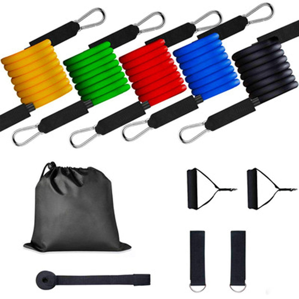 11PCS Resistance Band Set Exercise Pull Rope Latex Tubes Foam Handle Door Anchor Straps for Fitness Yoga Training Sport Workout