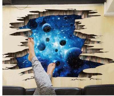 Large 3d Cosmic Space Wall Sticker Galaxy Star Bridge Home Decoration for Kids Room Floor Living Room Wall Decals Home Decor