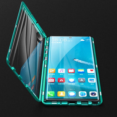 Full body Magnetic Tempered Glass Case for Samsung Note 10 S10 S9 Plus Note 9 Case Metal Bumper Shockproof Protective Shell