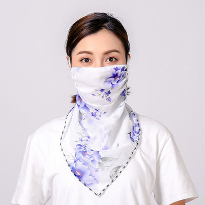 Summer Masks Flower Printed Women's Large Neck Guard Sun-resistant Silk Scarves Mask Driving College Style Scarf Outdoor Cycling
