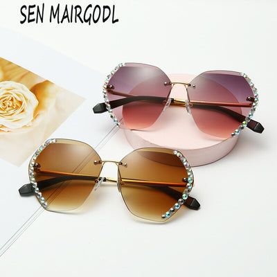 New Fashion Frameless sunglasses women Trimmed  luxury crystal sun glasses men Classic oval diamond glasses UV400 gafas de mujer