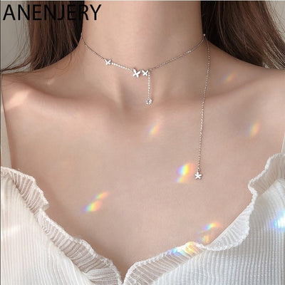 ANENJERY Shiny Cubic Zircon Butterfly Long Chain Tassel Necklace Clavicle Chains Choker For Women Gift S-N568