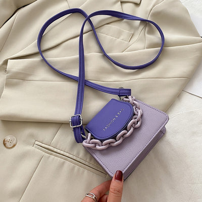 Youth Ladies Simple Versatile Bag Women Mini Crossbody Bag Acrylic Chain Lady Hit Color PU Leather Shoulder Pouch