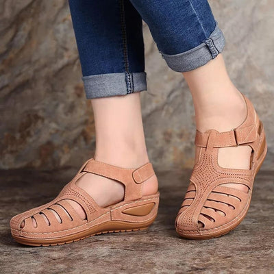 Summer Shoes Women Sandals PU Buckle Ladies Retro Sewing Hollow Out Woman Flat Shoes