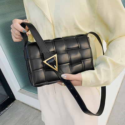Luxury Handbags Women Bags Designer Knit PU Leather Shoulder Fashion Female Messenger Woven Checked Pursesz