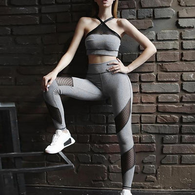 Sports Sexy Mesh Fitness Yoga Suit Women Tracksuit 2019 Leggings Sports Bra Woman Sportswear Workout Gym Clothes Female Jogging