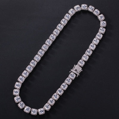 Square Cubic Zirconia Tennis Chains Top Quality Hiphop Necklace Luxury Full Iced Out CZ Jewelry For Men Women