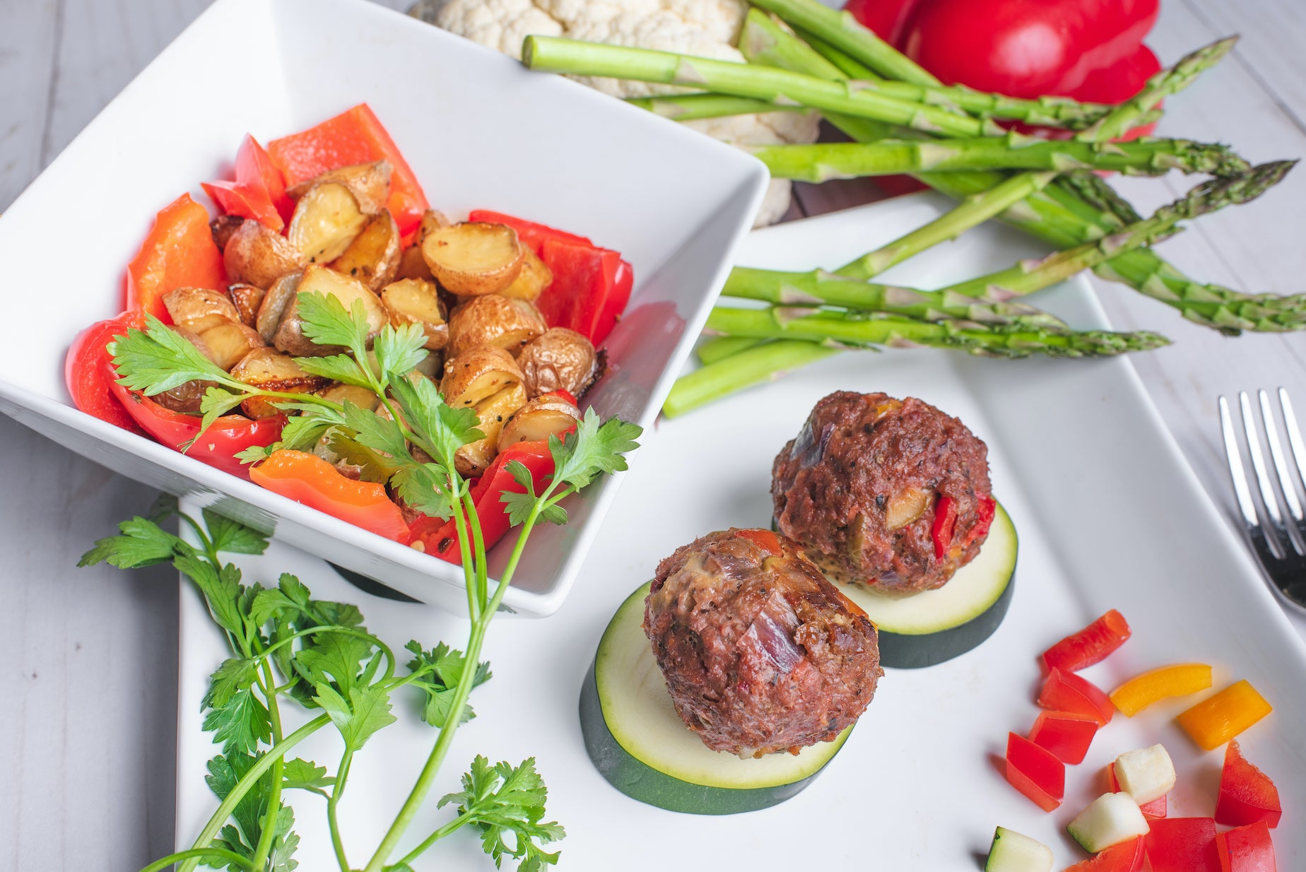 Greek Balls with Baby Potatoes & Roasted Red Pepper-Plant Based