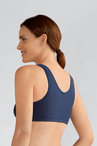Frances Non-Wired Front Closure Bra (Navy)