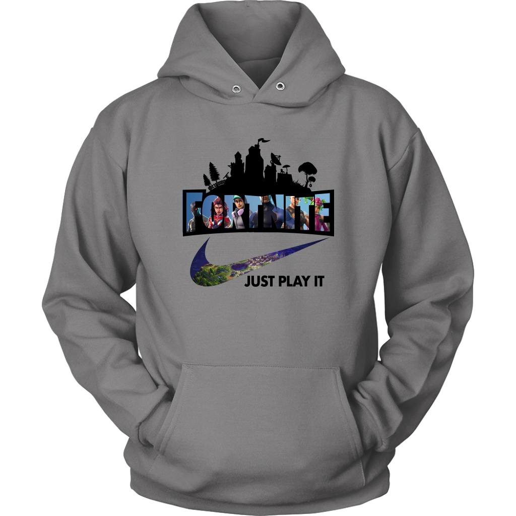 Fortnite Just Play It Hoodie Adult Grey The Real Shirts