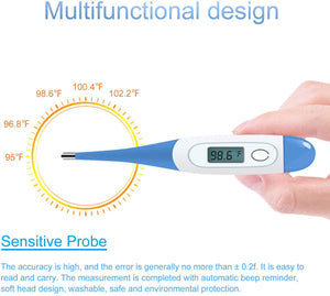 Digital Medical Thermometer with Flexible tip, Rectal and Oral Thermometer for Adults and Babies, Thermometer for Fever - Accurate and Fast Readings with Fever Indicator