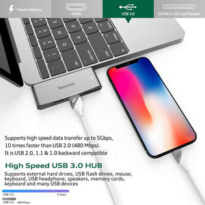 USB-C Multiport Adapter w/OTG Support, iMXPW HEXATERA USB C Hub with HDMI