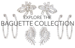 The FALLON Jewelry Baguette collection - shop baguette cut cubic zirconia jewelry.