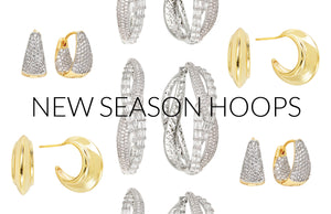 New season hoop earrings have arrived from FALLON.  Shop gold hoops, silver tone hoops, pave hoops, and more.