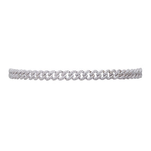 ARMURE PAVE CURB CHOKER NECKLACE - RHODIUM