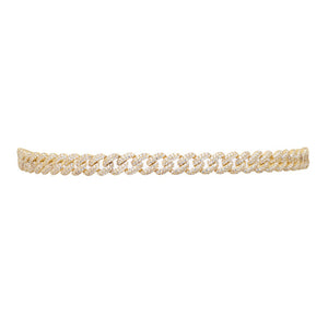 THE FALLON PAVÉ CURB CHAIN CHOKER IS MADE WITH GOLD-PLATED BRASS AND AAA HAND-SET CUBIC ZIRCONIA STONES.
