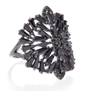 DECO MEDALLION RING - JET