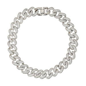 ARMURE PAVE XL CURB COLLAR NECKLACE - RHODIUM
