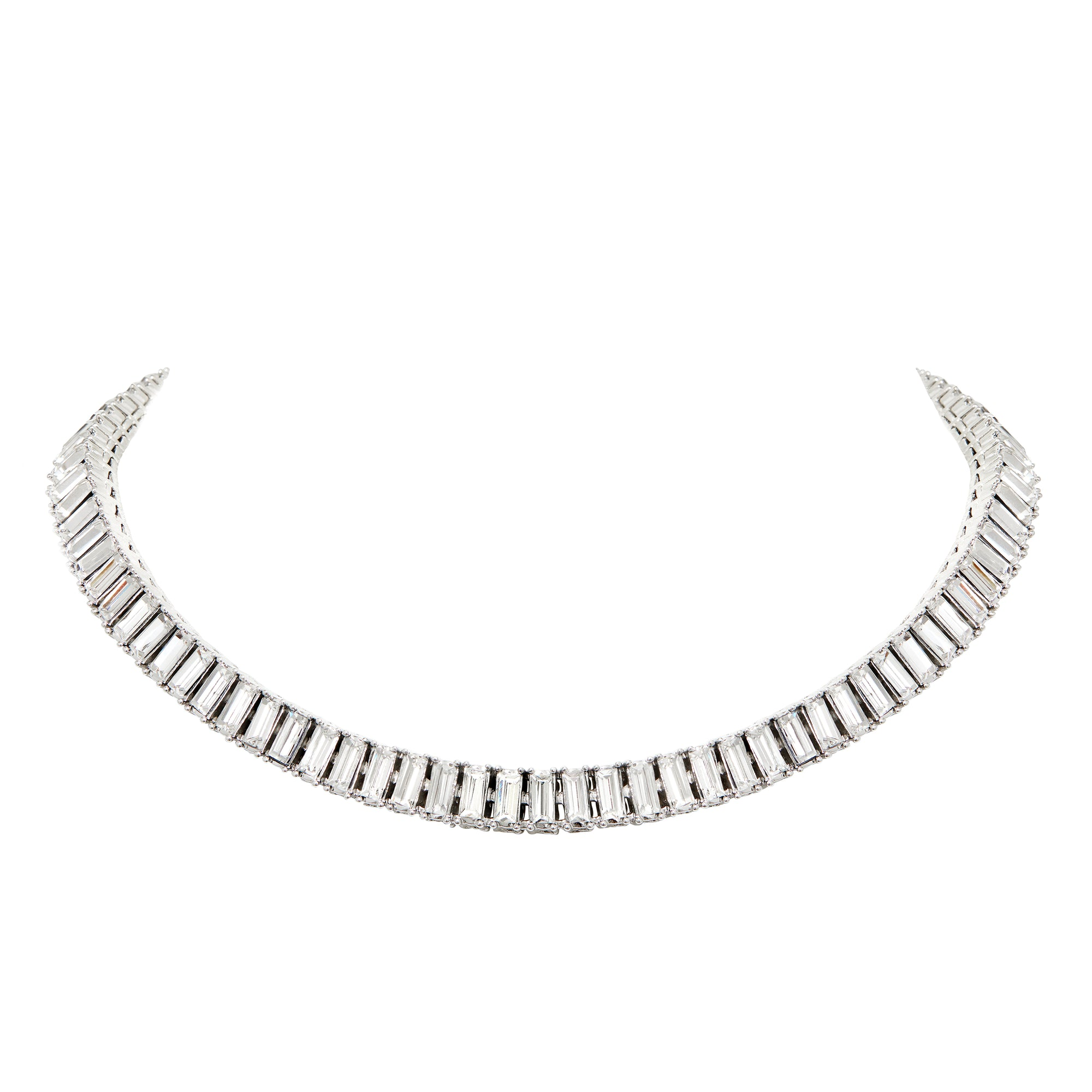 The FALLON Baguette Swag Collar Necklace.  Rhodium-plated brass, cubic zirconia stones.