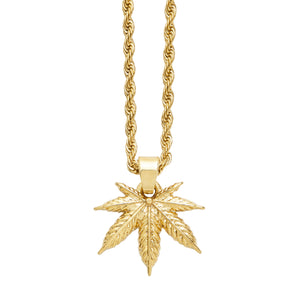 Chill out with the new FALLON cannabis leaf charm necklace, made from gold plated brass.  Choose your perfect length - our rope chains are available in 18 and 24 inches.