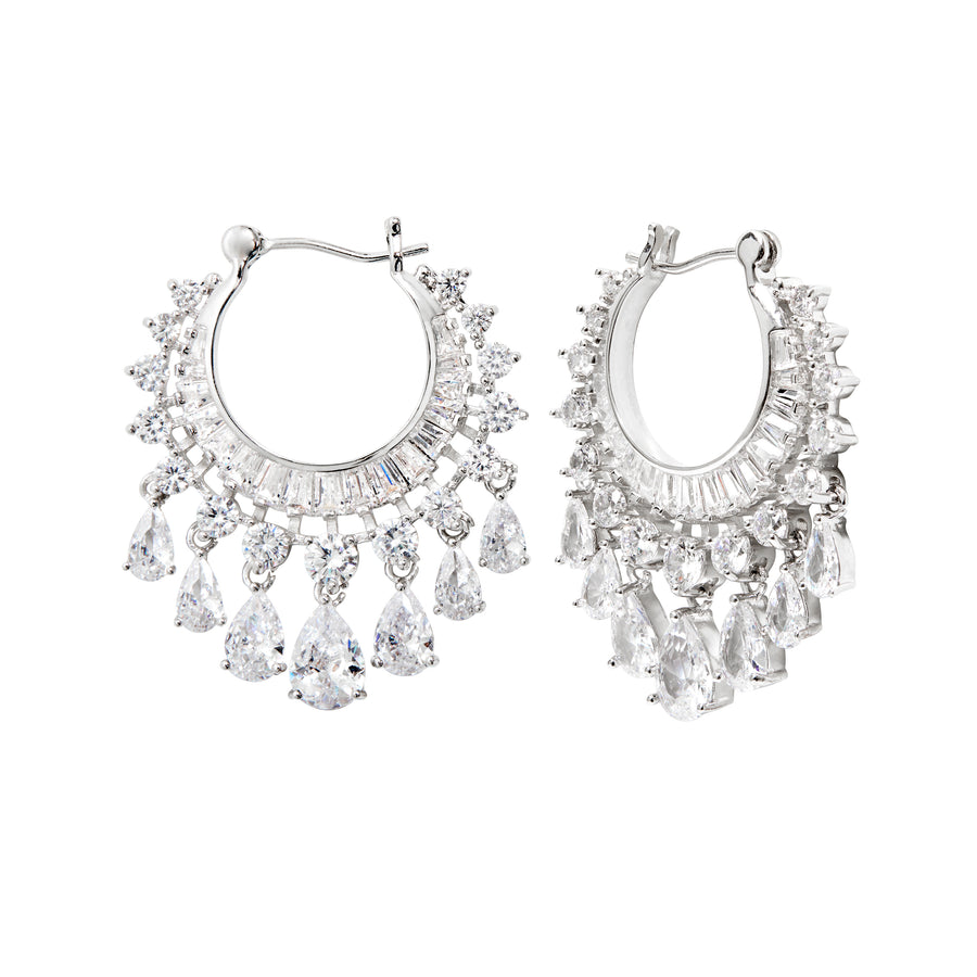 CEREMONY LAYERED HOOP EARRINGS - RHODIUM