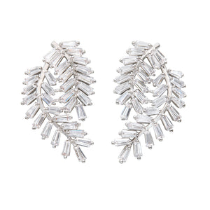 THE FALLON FERN SWAG EARRINGS IN RHODIUM PLATED BRASS AND GLITTERING CUBIC ZIRCONIA CRYSTAL.