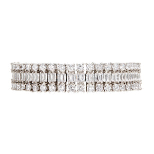 The FALLON Double Diamante Bracelet in rhodium. Statement bracelet made from plated brass and cubic zirconia crystal.