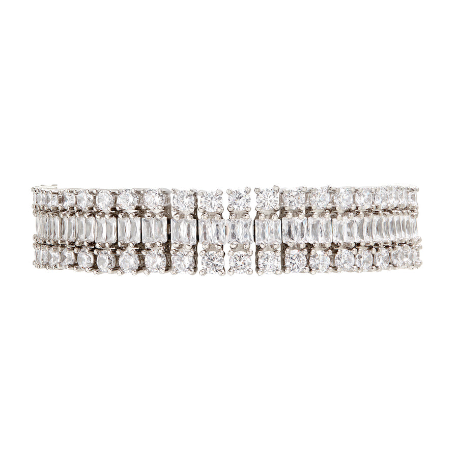 The FALLON Double Diamante Bracelet in rhodium.