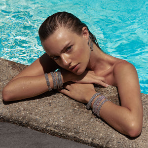 Maya Stepper wearing the FALLON Double Pear Diamanté Bracelet in rhodium.