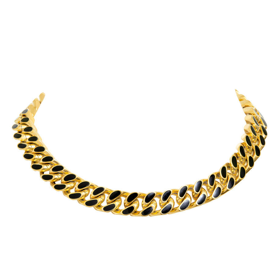 ARMURE ENAMEL CURB CHAIN COLLAR NECKLACE - GOLD/BLACK