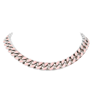ARMURE ENAMEL CURB CHAIN COLLAR NECKLACE - RHODIUM/BLUSH
