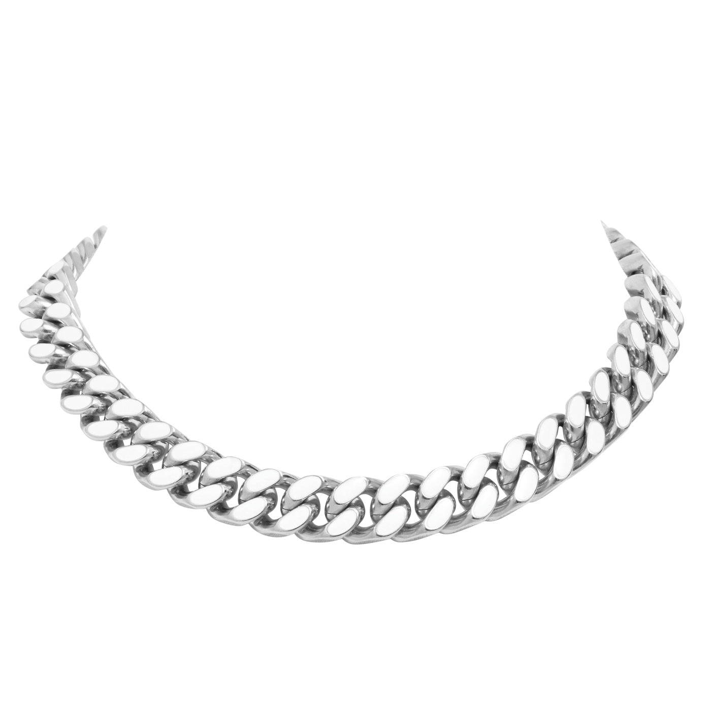 ARMURE ENAMEL CURB CHAIN COLLAR NECKLACE - SILVER/WHITE