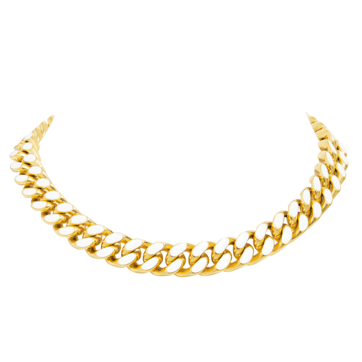 ARMURE ENAMEL CURB CHAIN COLLAR NECKLACE - GOLD/WHITE