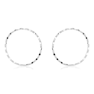 RIPPLED CHEEKBONE HOOPS - SILVER