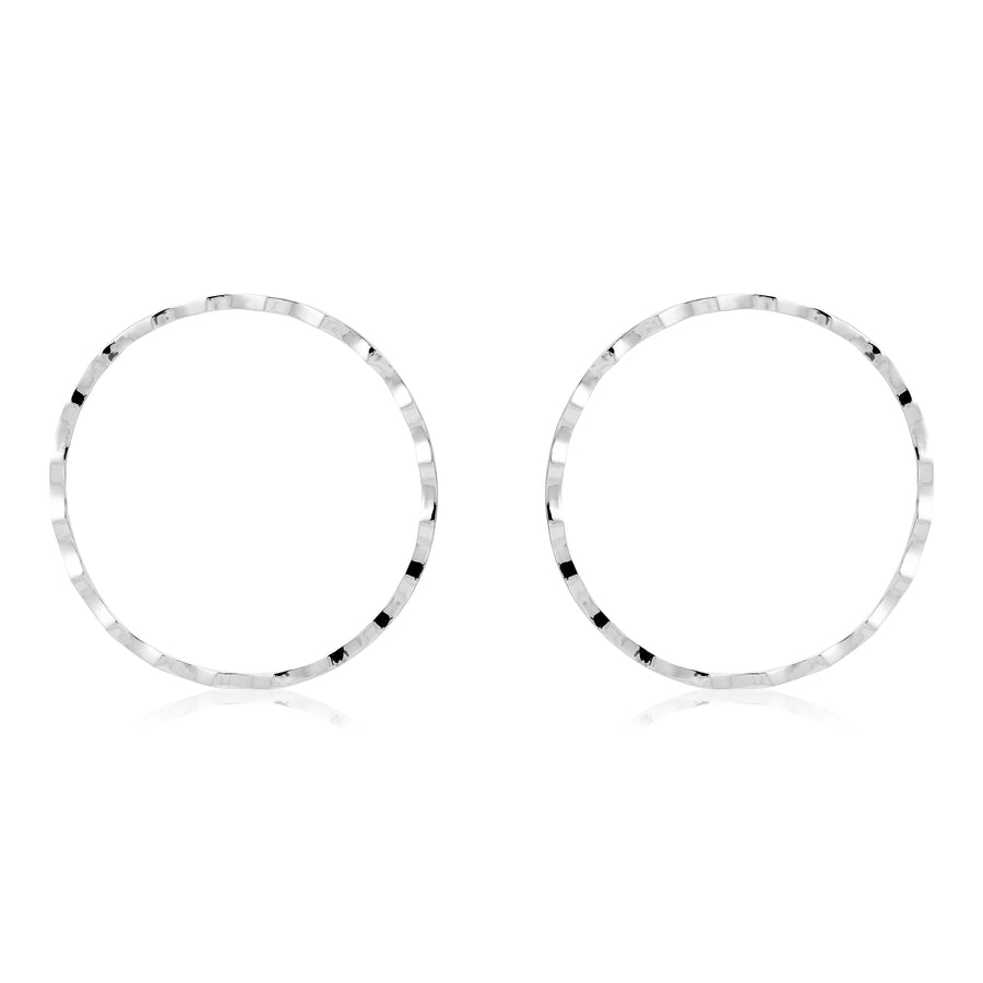 RIPPLED CHEEKBONE HOOP EARRINGS - SILVER