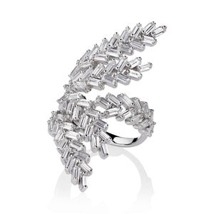 DECO FERN RING - RHODIUM