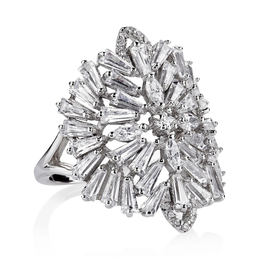 DECO MEDALLION RING - RHODIUM