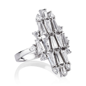 THE FALLON DECO VERTICAL RING IN RHODIUM.