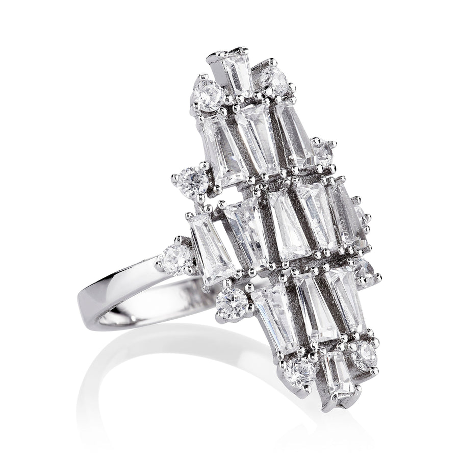 DECO VERTICAL RING - RHODIUM