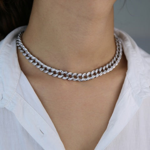 BAGUETTE CURB CHAIN COLLAR NECKLACE - RHODIUM