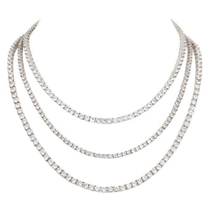 The FALLON Grace Tennis necklaces are available in three lengths for optimal layering.