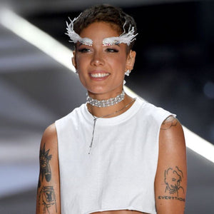 Halsey wearing the FALLON Monarch Dotted Pearl Choker while performing at the VS Fashion show.