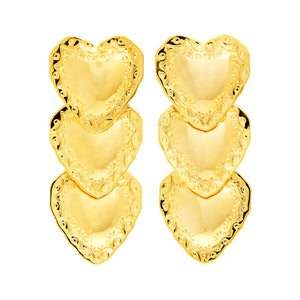 HEART DROP EARRINGS - GOLD