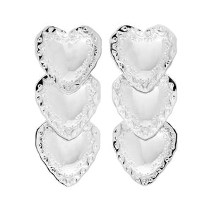 HEART DROP EARRINGS - RHODIUM