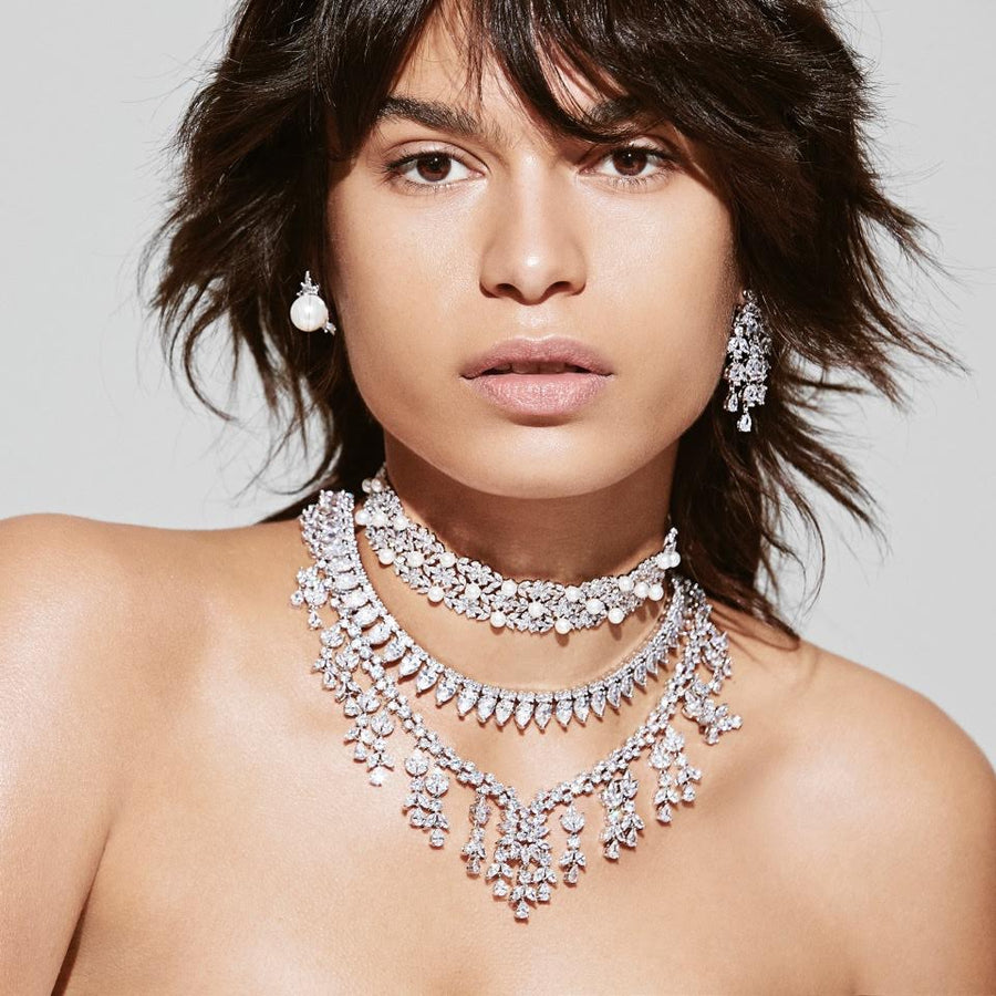THE FALLON MONARCH DOTTED PEARL CHOKER IS MADE WITH GLITTERING AAA CUBIC ZIRCONIA CRYSTALS, HAND-SET IN IMITATION-RHODIUM-PLATED BRASS.  ALL DOTTED WITH SHINING WHITE SHELL PEARLS.