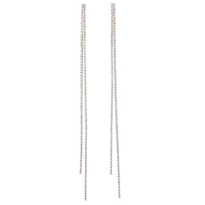 LIQUID DIAMANTÉ DUSTER EARRINGS - RHODIUM